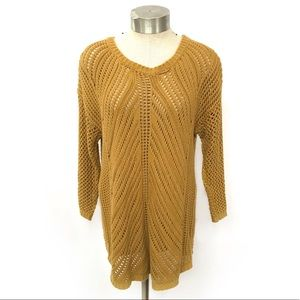 Chelsea & Theodore Open Knit Mustard Sweater